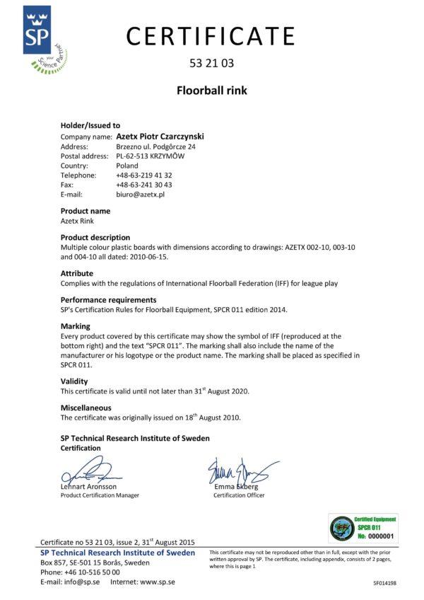 Bandy do unihokeja AZETX EXTREME z certyfikatem IFF