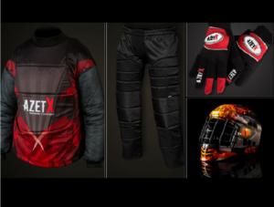 Zestaw bramkarski PRO - bluza bramkarska, spodnie bramkarskie, rękawice bramkaskie do unihokjea, kask do unihokeja Azetx Flame