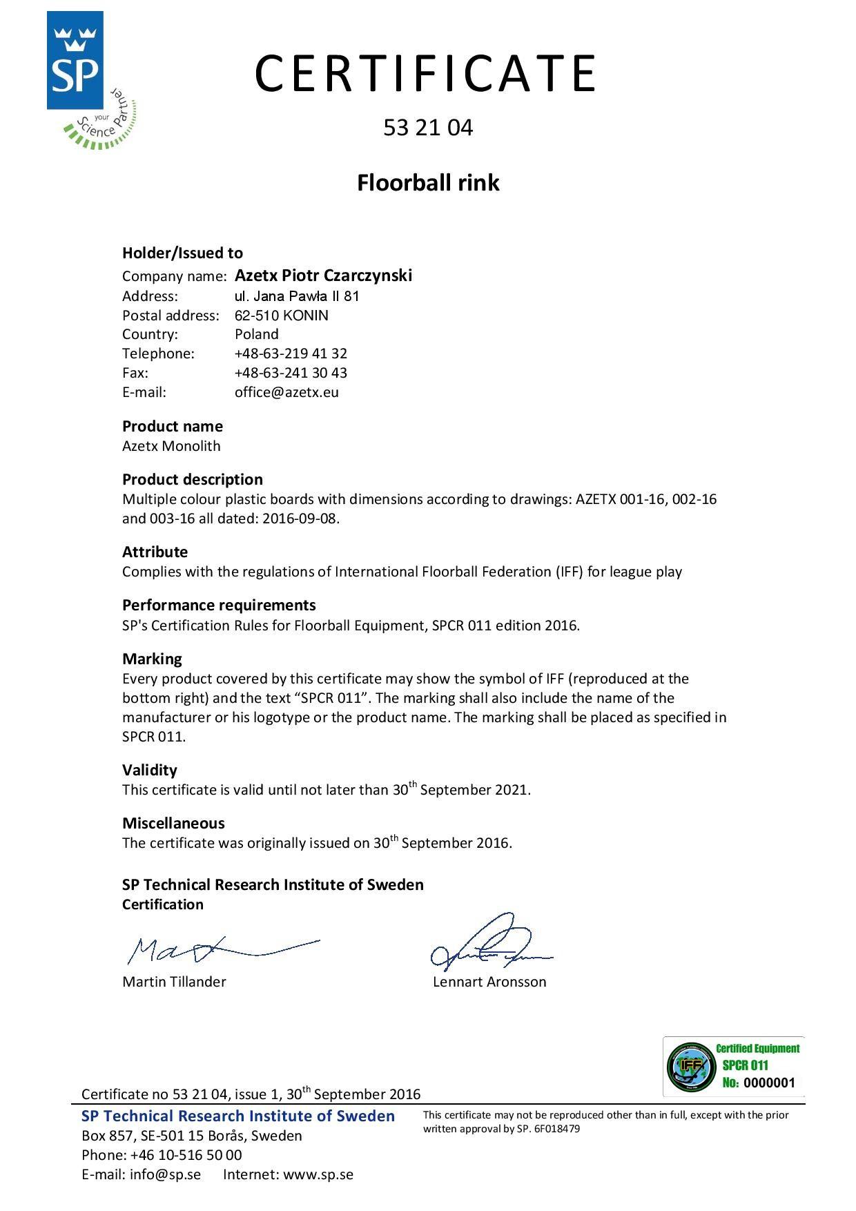AZETX MONOLITH Floorball Rink 20m x 40m with IFF